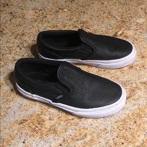 Kids Black leather Vans size 13